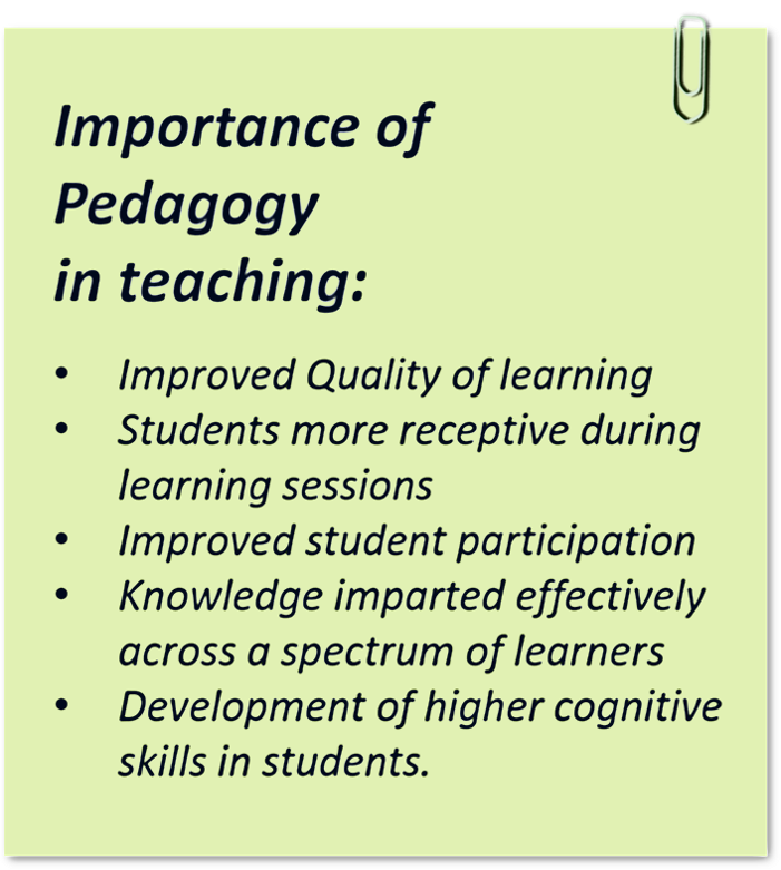 Points mentioing the imporstance of pedagogy in teaching